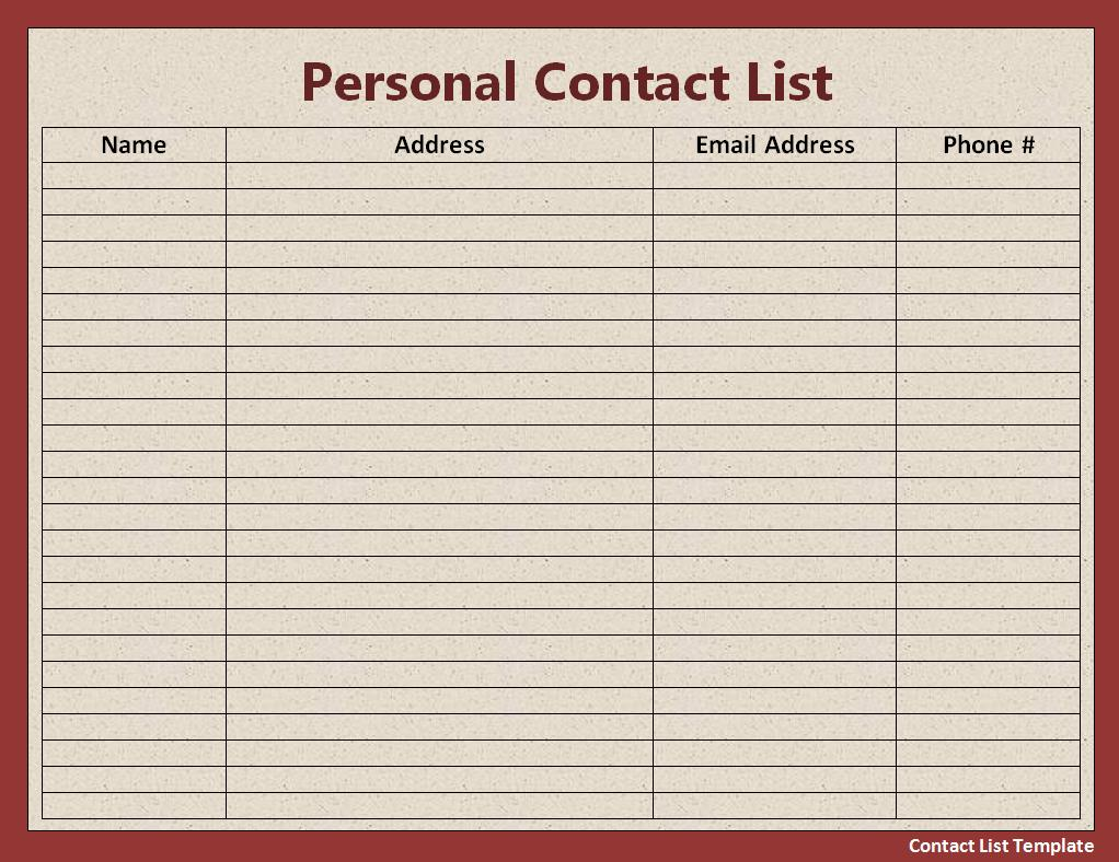 contact information template – Contact Information Template Word